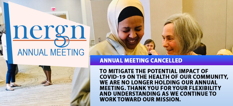 Notice that says the NERGN Annual Meeting has been cancelled.