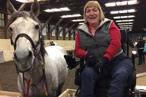 Kathy Bates Next To Her Horse