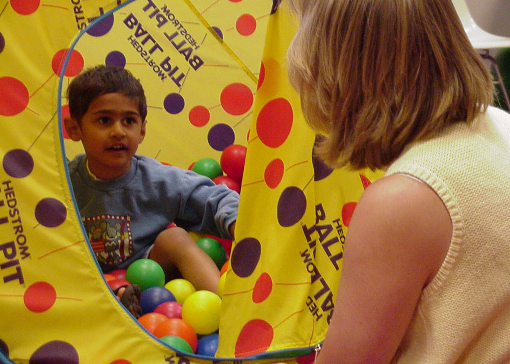 Child Playing in Ball Pit with Faculty