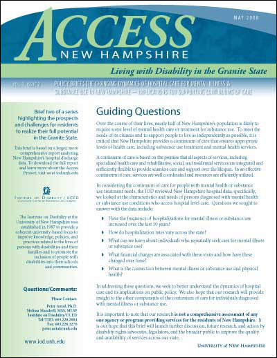 Access NH- Policy Brief: The Changing Dynamics of Hospital Care for Mental Illness & Substance Use in NH