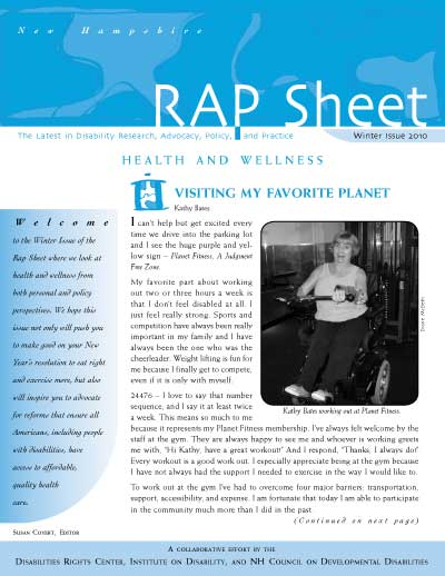 NH RAP Sheet- Winter 2010: Health and Wellness