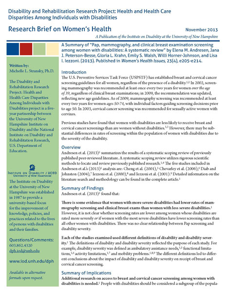 Research Brief on Women's Health - November 2013