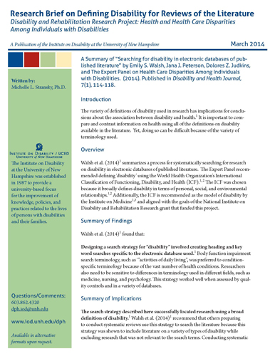 Research Brief on Defining Disability for Reviews of the Literature - March 2014