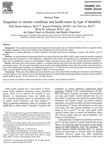 Disparities in chronic conditions and health status by type of disability