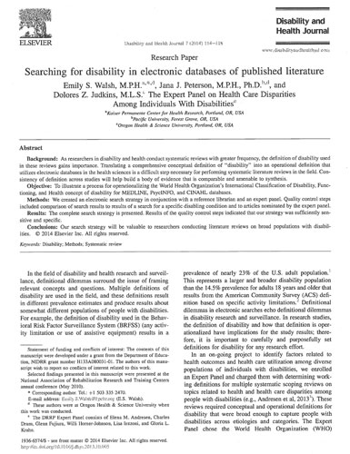 Searching for disability in electronic databases of published literature