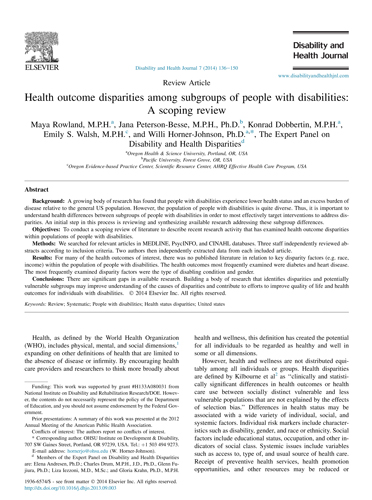 Health outcome disparities among subgroups of people with disabilities: A scoping review