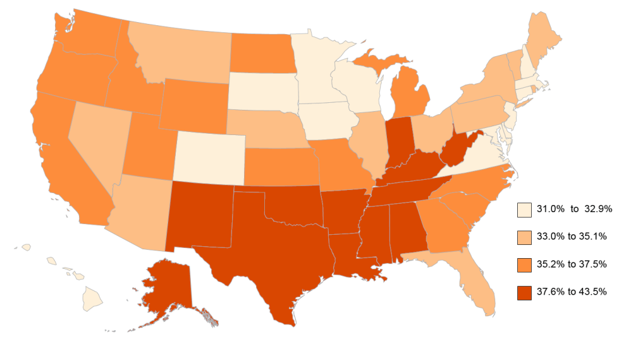 U.S. Map showing percentage of adults 65+ with a disability.