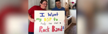 """""""I was my DSP to help me start a rock band"""" written in bold colorful letters ."""